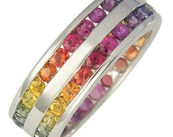 Multicolor Rainbow Sapphire Double Row Eternity Ring 925 Sterling Silver : sku 391-925