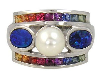 Multicolor Rainbow Sapphire & Pearl with Australian Opal Ring 925 Sterling Silver (2.85ct tw) SKU: 1431-925