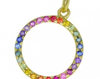 Multicolor Rainbow Sapphire Circle Pendant 14K Yellow Gold : sku 335-14K-YG