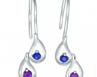 Multicolor Rainbow Sapphire Journey Earrings 14K White Gold (1/2ct tw) SKU: 393-14K-Wg