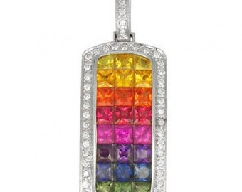 Multicolor Rainbow Sapphire & Diamond Invisible Set Triple Row Pendant 14K White Gold (5.05ct tw) SKU: 623-14K-Wg