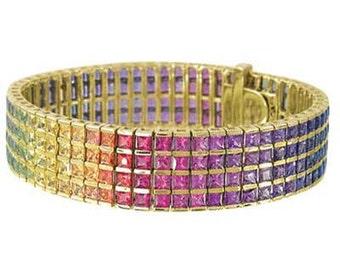 Multicolor Rainbow Sapphire Channel Set 4 Row Tennis Bracelet 14K Yellow Gold (40ct tw) SKU: 1572-14K-Yg