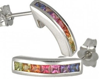 Multicolor Rainbow Sapphire Earrings Hoop Huggie 18K White Gold (1ct tw) SKU: 888-18K-Wg