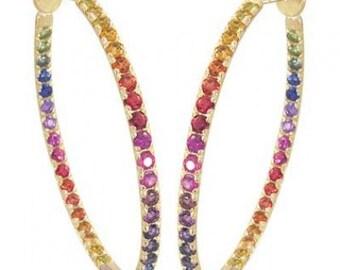 Multicolor Rainbow Sapphire Earrings Hoop Huggie 14K Yellow Gold (7ct tw) SKU: 1492-14K-Yg