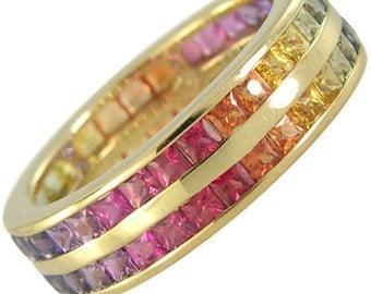 Multicolor Rainbow Sapphire Double Row Eternity Ring 18K Yellow Gold (6ct tw) : sku 391-18k-yg