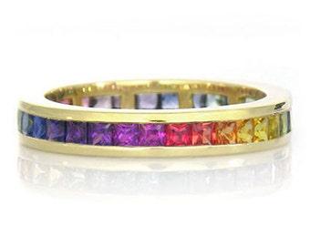 Multicolor Rainbow Sapphire Eternity Band Ring 14k Yellow Gold (3ct tw) : sku R2045-14K-YG