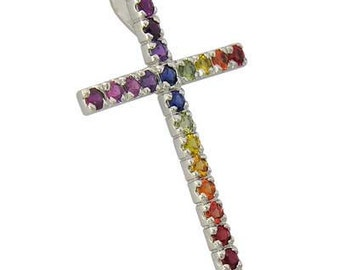 Multicolor Rainbow Sapphire Religious Crucifix Pendant 18K White Gold (3ct tw) SKU: 1525-18K-Wg