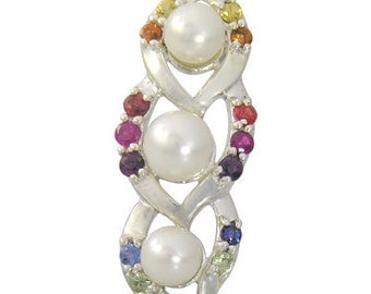 Multicolor Rainbow Sapphire & Pearl Antique Style Pendant 925 Silver (1/2ct tw) SKU: 1465-925