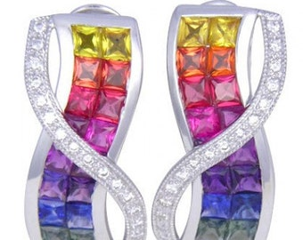 Multicolor Rainbow Sapphire & Diamond Designer Invisible Set Earrings 14K White Gold (6.33ct tw) SKU: 412-14K-Wg
