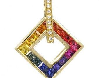 Multicolor Rainbow Sapphire & Diamond Large Square Pendant 14K Yellow Gold (1.37ct tw) SKU: 431-14K-Yg