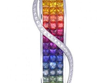 Multicolor Rainbow Sapphire & Diamond Invisible Set Pendant 18K White Gold (8.28ct tw) SKU: 472-18K-Wg