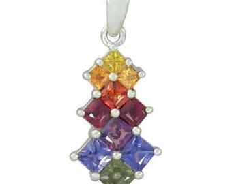 Multicolor Rainbow Sapphire Princess Cut Journey Pendant 14K White Gold (1.15ct tw) SKU: 1466-14K-Wg