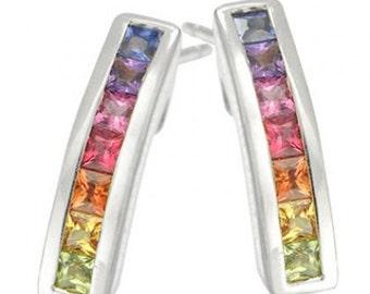 Multicolor Rainbow Sapphire Earrings Hoop Huggie 14K White Gold (2.3ct tw) SKU: 889-14K-Wg