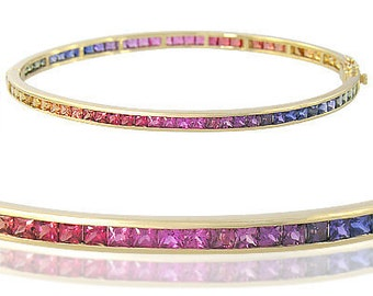 Multicolor Rainbow Sapphire Eternity Oval Bangle 14K Yellow Gold (8ct tw) SKU: 1520-14K-Yg