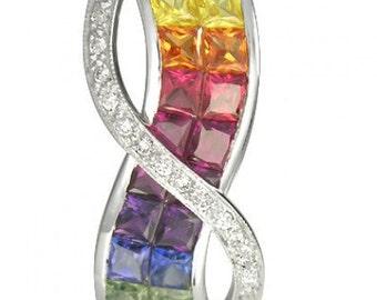 Multicolor Rainbow Sapphire & Diamond Pendant Invisible Set Double Row 14K White Gold (3.1ct tw) SKU: 718-14K-Wg