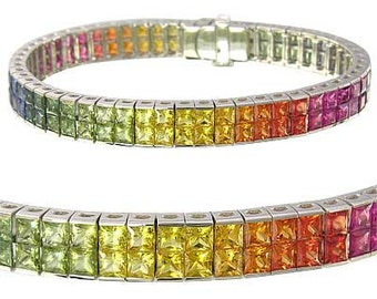 Multicolor Rainbow Sapphire Double Row Invisible Set Tennis Bracelet 14K White Gold (25ct tw) SKU: 1567-14K-Wg