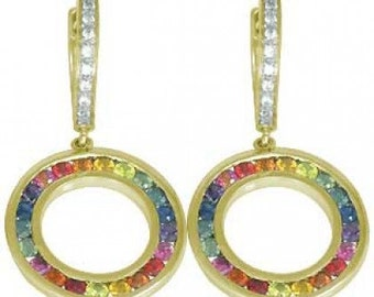 Multicolor Rainbow Sapphire & Diamond Huggie Earrings 14K Yellow Gold (2.5ct tw) SKU: 424-14K-Yg