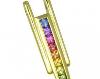 Multicolor Rainbow Sapphire Bar Pendant 18K Yellow Gold (1.2ct tw) SKU: 309-18K-Yg