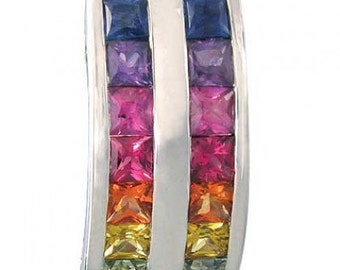 Multicolor Rainbow Sapphire Double Row Pendant 14K White Gold (2.3ct tw) SKU: 1504-14K-Wg