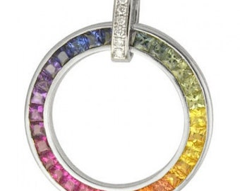 Multicolor Rainbow Sapphire & Diamond Large Circle Pendant 14K White Gold (3.54ct tw) SKU: 1070-14K-Wg