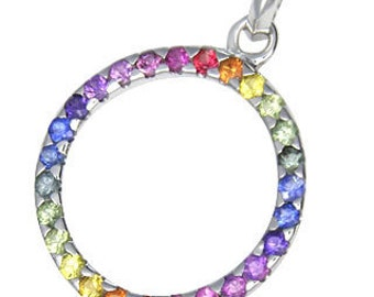 Multicolor Rainbow Sapphire Circle Pendant 14K White Gold : sku 335-14K-WG