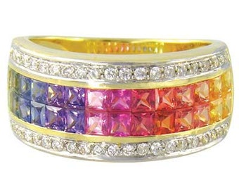 Multicolor Rainbow Sapphire & Diamond Invisible Set Band Ring 14K Yellow Gold (4.3ct tw): sku 1532-14k-yg