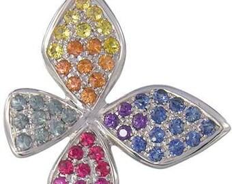Multicolor Rainbow Sapphire Stylish Butterfly Pendant 14K White Gold (1.07ct tw) SKU: 1542-14K-Wg