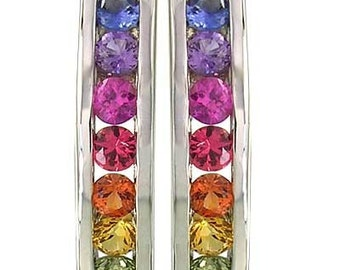 Multicolor Rainbow Sapphire Earrings Hoop Huggie 925 Sterling Silver : sku 889-925