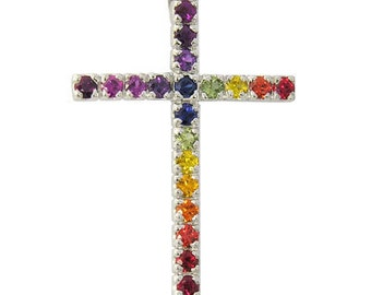 Multicolor Rainbow Sapphire Religious Crucifix Pendant 14K White Gold (3ct tw) SKU: 1525-14K-Wg