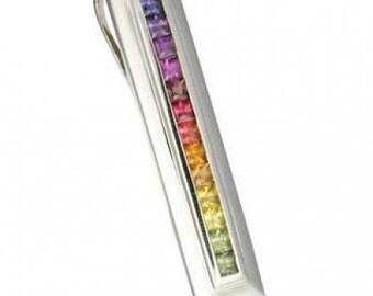 Multicolor Rainbow Sapphire Line Pendant 18K White Gold (2ct tw) SKU: 664-18K-Wg