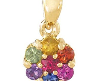 Multicolor Rainbow Sapphire Flower Cluster Pendant 14K Yellow Gold : sku 1616-14K-YG