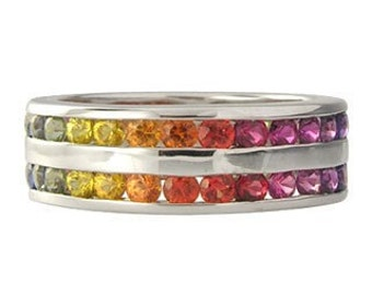 Multicolor Rainbow Sapphire Double Row Eternity Ring 925 Sterling Silver (8ct tw) : sku 387-925