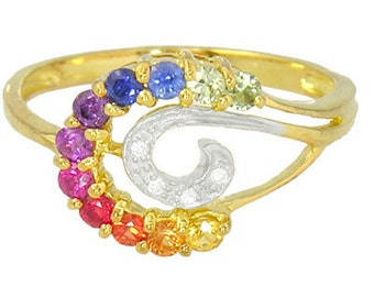 Multicolor Rainbow Sapphire & Diamond Swirl Ring 14K Yellow Gold (0.62ct tw): sku 1437-14k-yg