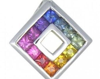 Multicolor Rainbow Sapphire Small Square Pendant 18K White Gold (3/4ct tw) SKU: 436-18K-Wg