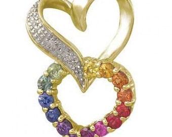 Multicolor Rainbow Sapphire & Diamond Friendship Love Heart Pendant 14K Yellow Gold (0.61ct tw) SKU: 1602-14K-Yg