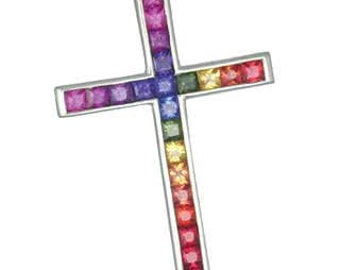 Multicolor Rainbow Sapphire Religious Crucifix Cross Pendant 18K White Gold (5ct tw) : sku 438-18k-wg