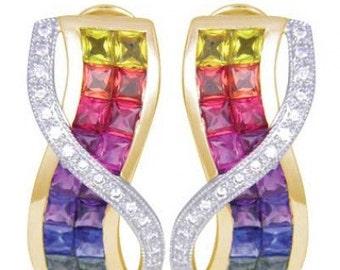 Multicolor Rainbow Sapphire & Diamond Designer Invisible Set Earrings 14K Yellow Gold (6.33ct tw) SKU: 412-14K-Yg
