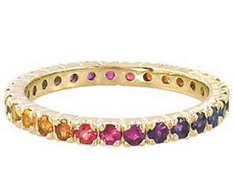 Multicolor Rainbow Sapphire Pave Set Eternity Ring 18K Yellow Gold : sku 1512-18k-yg