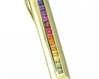 Multicolor Rainbow Sapphire Line Pendant 18K Yellow Gold (2ct tw) SKU: 664-18K-Yg