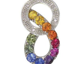 Multicolor Rainbow Sapphire & Diamond Round Friendship Pendant 925 Sterling Silver (1.28ctw)  : sku 1568 - 925