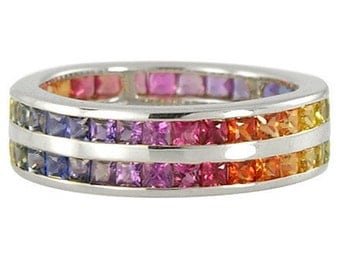 Multicolor Rainbow Sapphire Double Row Eternity Ring 14K White Gold : sku 391-14k-wg