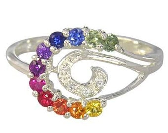 Multicolor Rainbow Sapphire & Diamond Swirl Ring 925 Sterling SIlver : sku 1437-925