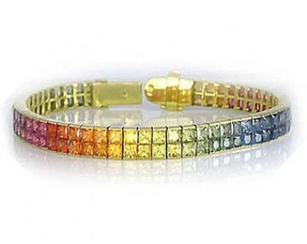 Multicolor Rainbow Sapphire Double Row Invisible Set Tennis Bracelet 14K Yellow Gold (25ct tw) SKU: 1567-14K-Yg