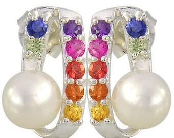 Multicolor Rainbow Sapphire & Pearl Fancy Earring 925 Sterling Silver (3/4ct tw) SKU: 1508-925