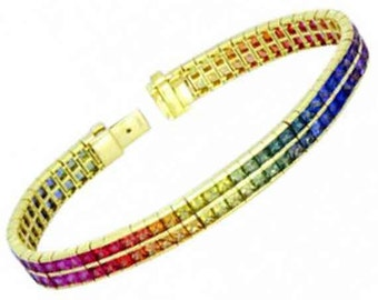 Multicolor Rainbow Sapphire Double Row Tennis Bracelet 18K Yellow Gold (20ct tw) SKU: 439-18K-Yg