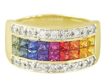 Multicolor Rainbow Sapphire & Diamond Invisible Set Band Ring 14K Yellow Gold (2.25ct tw): sku 1494-14k-yg