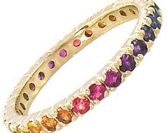 Multicolor Rainbow Sapphire Pave Set Eternity Ring 14K Yellow Gold : sku 1512-14k-yg