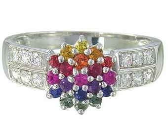 Multicolor Rainbow Sapphire & Diamond Classic Womens Ring 14K White Gold : sku 1592-14K-WG