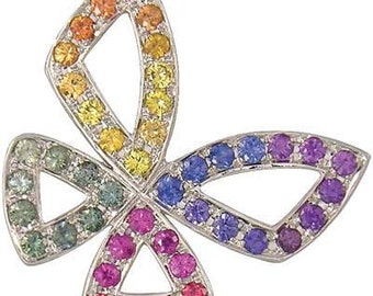 Multicolor Rainbow Sapphire Classic Butterfly Pendant 14K White Gold (0.87ct tw) SKU: 1543-14K-Wg