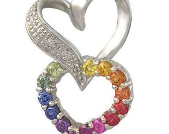 Multicolor Rainbow Sapphire & Diamond Friendship Love Heart Pendant 14K White Gold (0.61ct tw) SKU: 1602-14K-Wg